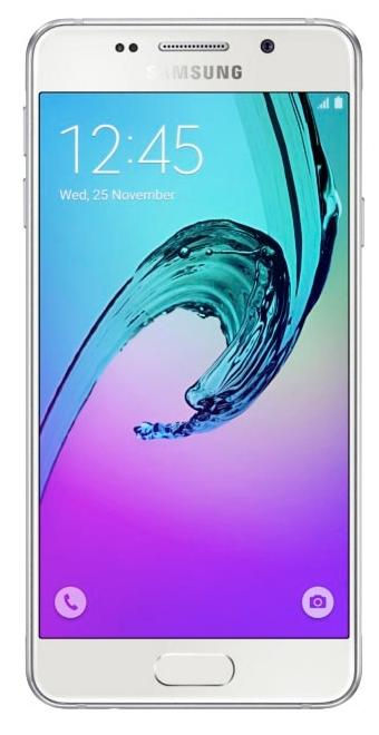 Samsung Galaxy A3 (2016), White - (; GSM 900/1800/1900, 3G, 4G LTE, LTE-A Cat. 4; SIM-карт 2; 1500 МГц; RAM 1.50 Гб; ROM 16 Гб; 2300 мА?ч; 13 млн пикс., светодиодная вспышка; есть, 5 млн пикс.; датчики - освещенности, приближения, компас)
