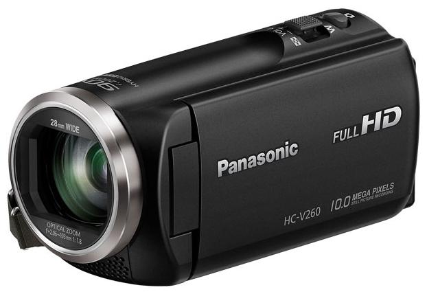 """Panasonic HC-V260 black - (ЖК-экран: есть (2.7"""", 230400 пикс.). Сенсорный дисплей: есть. Общее число пикселей: 2.51 Мпикс. Макс. разрешение фотосъемки: 1920x1080 пикс)"""