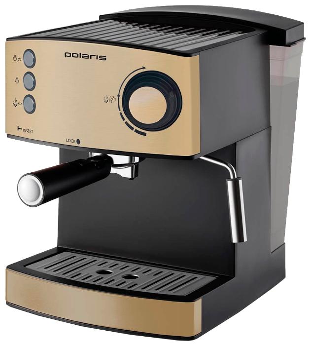 Polaris PCM 1527E - эспрессо, полуавтоматическое приготовление; кофе - молотый; резервуар 1.5 л; рожок - металл; макс.давление 15 бар