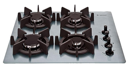 Гефест 2230 К9 - (независимая, газовая варочная поверхность, панель управления сбоку, переключатели поворотные, газ-контроль есть, электроподжиг есть, автоматический • всего конфорок 4, газовых 4, экспресс-конфорок 1, панель - закаленное стекло • Цвет панели конфорок – серебристый)