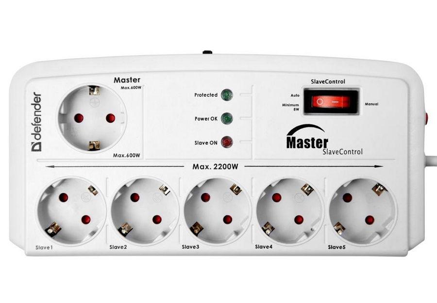 Сетевой фильтр Defender DFS 805 (6 розеток, 5 м), White 99453