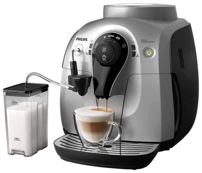 Philips HD8654/59, black-silver - эспрессо, автоматическое приготовление; кофе - зерновой; нагреватель - бойлер; резервуар 1 л; макс