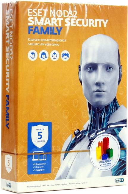 Антивирус ESET NOD32 Smart Security Family на 5 устройств (BOX) NOD32-ESM-NS(BOX)-1-5