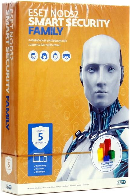 Антивирус ESET NOD32 Smart Security Family на 5 устройств (BOX) NOD32-ESM-NS(BOX)-1-5