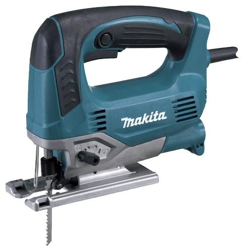 Makita JV0600K - (650 Вт; частота 500 - 3100 ходов/мин; регул.частоты есть; длина хода 23 мм; быстрозажимное крепление пилки есть; наклон есть, 45°; очистка реза - сдув опилок, подключение пылесоса; маятник есть, 4 ступени; подкл.аккумулятора - нет)