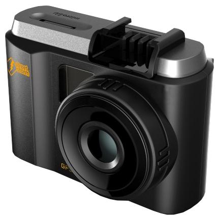 """Street Storm CVR-N9710-G - (с камерой, с экраном; 1920x1080 при 30 к/с, 1280x720 при 60 к/с ; каналов в/а - 1/1; CMOS 1/3"""" 3 млн пикс.; 170° (по диагонали); microSD (microSDHC) до 64 Гб; Экран 1.5""""; GPS-модуль есть)"""
