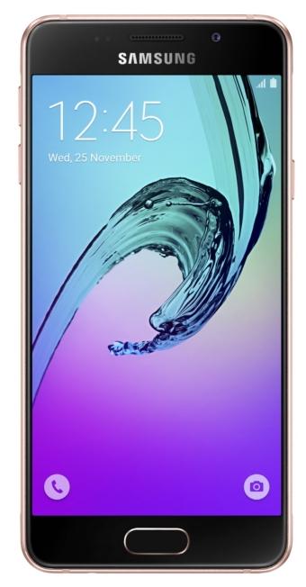 Samsung Galaxy A3 (2016), Rose Gold - (; GSM 900/1800/1900, 3G, 4G LTE, LTE-A Cat. 4; SIM-карт 2; 1500 МГц; RAM 1.50 Гб; ROM 16 Гб; 2300 мА?ч; 13 млн пикс., светодиодная вспышка; есть, 5 млн пикс.; датчики - освещенности, приближения, компас)