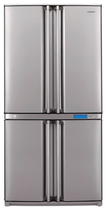 Sharp SJF96SPSL - (холодильник, 605 л (клим.класс ST), компрессоров 1, камер 3, дверей 4. Хол-ник 394 л (разм. No Frost). Мор-ник 211 л (разм. No Frost). ШГВ 89x77x183 см. Дисплей есть. Управление электронное. Энергопотр-е класс A+ (573 кВтч/год). серебристый)