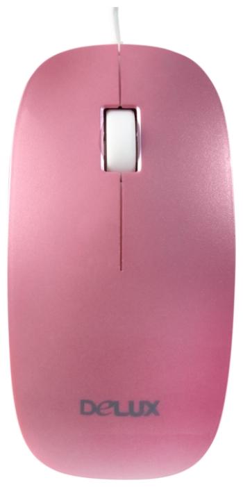 Delux DLM-111 Pink USB - оптическая светодиодная; кнопок 3; 1000 dpi; USB • 113x57x25 мм DLM-111 розово-белый