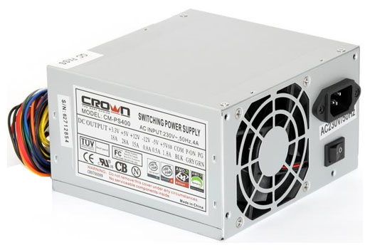 Crown CM-PS400 400W - 400 Вт, ATX12V 2.0, 1 вентилятор (80 мм), линия +12В(1) - 15 A • Molex: 4 / SATA: 2 / CPU 4pin: 1 / Floppy: 1