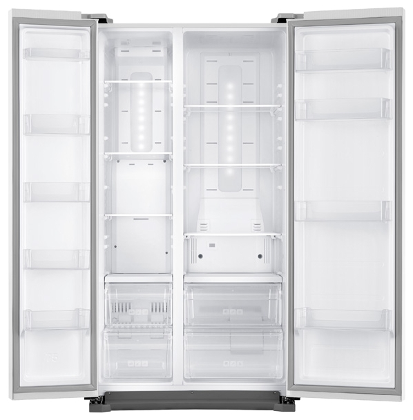 Samsung RS-57 K4000WW - (холодильник, 569 л (клим.класс SN, T), компрессоров 1, камер 2, дверей 2. Хол-ник 361 л (разм. No Frost). Мор-ник 208 л (разм. No Frost). ШГВ 91.2x74.7x178.9 см. Дисплей есть. Управление электронное. Энергопотр-е класс A+ (399 кВтч/год). белый / пластик/металл)