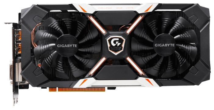 GIGABYTE GeForce GTX 1060 1645Mhz 6144Mb - (NVIDIA GeForce GTX 1060, 16 нм, 1645 МГц, 6144 Мб GDDR5@8316 МГц 192 бит, TDP 120 Вт • Разъёмы: DVI-D, поддержка HDCP, HDMI x3, DisplayPort x3.)