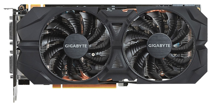Gigabyte GV-N960WF2OC-4GD (GTX960, 4Gb, DVI-I DVI-D HDMI 3xDP) - (NVIDIA GeForce GTX 960, 28 нм, 1241 МГц, 4 Гб GDDR5@7010 МГц 128 бит, TDP 120 Вт • Разъёмы: DVI x2, поддержка HDCP, HDMI, DisplayPort x3.)