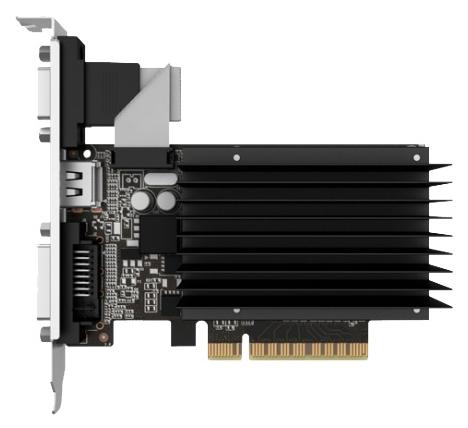 Palit GeForce GT730 (PCI-e 2.0, 2Gb GDDR3) - (NVIDIA GeForce GT 730, 28 нм, 902 МГц, 2048 Мб GDDR3@1804 МГц 64 бит • Разъёмы: DVI, поддержка HDCP, HDMI, VGA.)