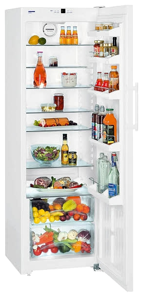 Liebherr K 4220 - (холодильник без морозильника, 405 л (клим.класс SN, T), отдельно стоящий, компрессоров 1, камер 1, дверей 1. Хол-ник 390 л (разм. капельная система). ШГВ 60x63x185.2 см. Управление электронное. Энергопотр-е класс A+ (155 кВтч/год). белый / пластик)