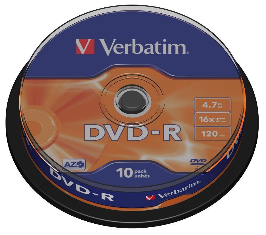 DVD-диск Verbatim 4,7 Gb, Cake Box (10 шт) 43523