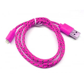 Дата-кабель Smartbuy USB - Lightning нейлон 1,2 м розовый iK-512n pink