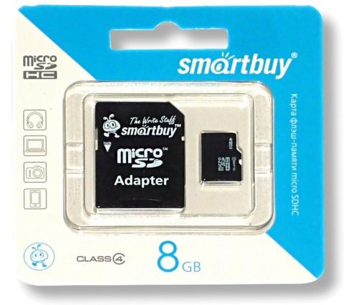Карта памяти SmartBuy microSDHC Class 4 8GB + SD adapter