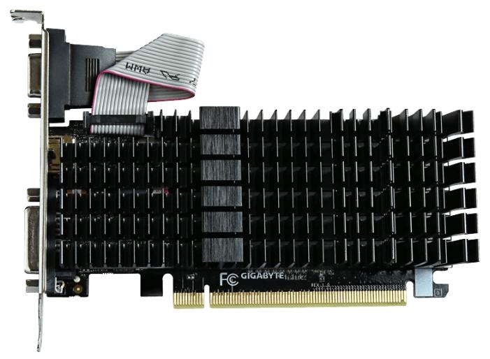 Gigabyte GeForce GT 710 (1Gb GDDR3, VGA + DVI-D + HDMI) - (NVIDIA GeForce GT 710, 28 нм, 954 МГц, 1024 Мб GDDR3@1800 МГц 64 бит, TDP 19 Вт • Разъёмы: DVI-D, поддержка HDCP, HDMI, VGA.)