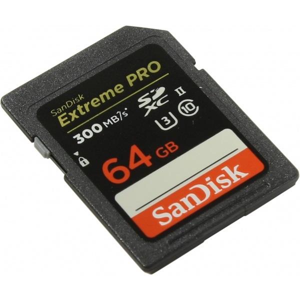 Карта памяти SanDisk Extreme Pro SDXC UHS-II 300MB/s 64GB