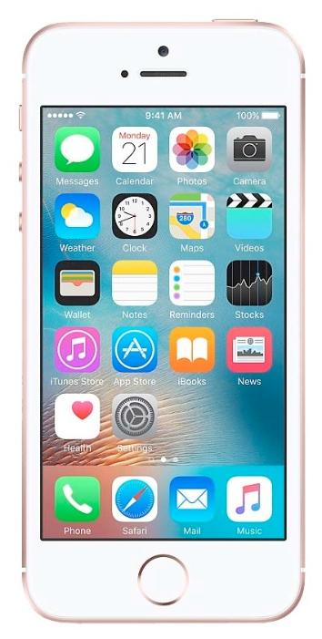 Apple iPhone SE 64GB Rose Gold - (; GSM 900/1800/1900, 3G, 4G LTE, VoLTE; SIM-карт 1 (nano SIM); Apple A9; ROM 64 Гб; 12 млн пикс., встроенная вспышка; есть, 1.2 млн пикс.; датчики - освещенности, приближения, гироскоп, компас, считывание отпечатка пальца)