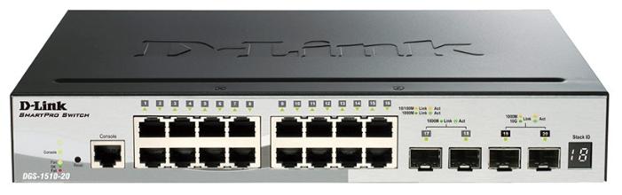 D-Link DGS-1510-20 - коммутатор (switch); 16 x Ethernet 10/100/1000 Мбит/сек; пропускная способность 76 Гбит/сек; таблица MAC-адресов