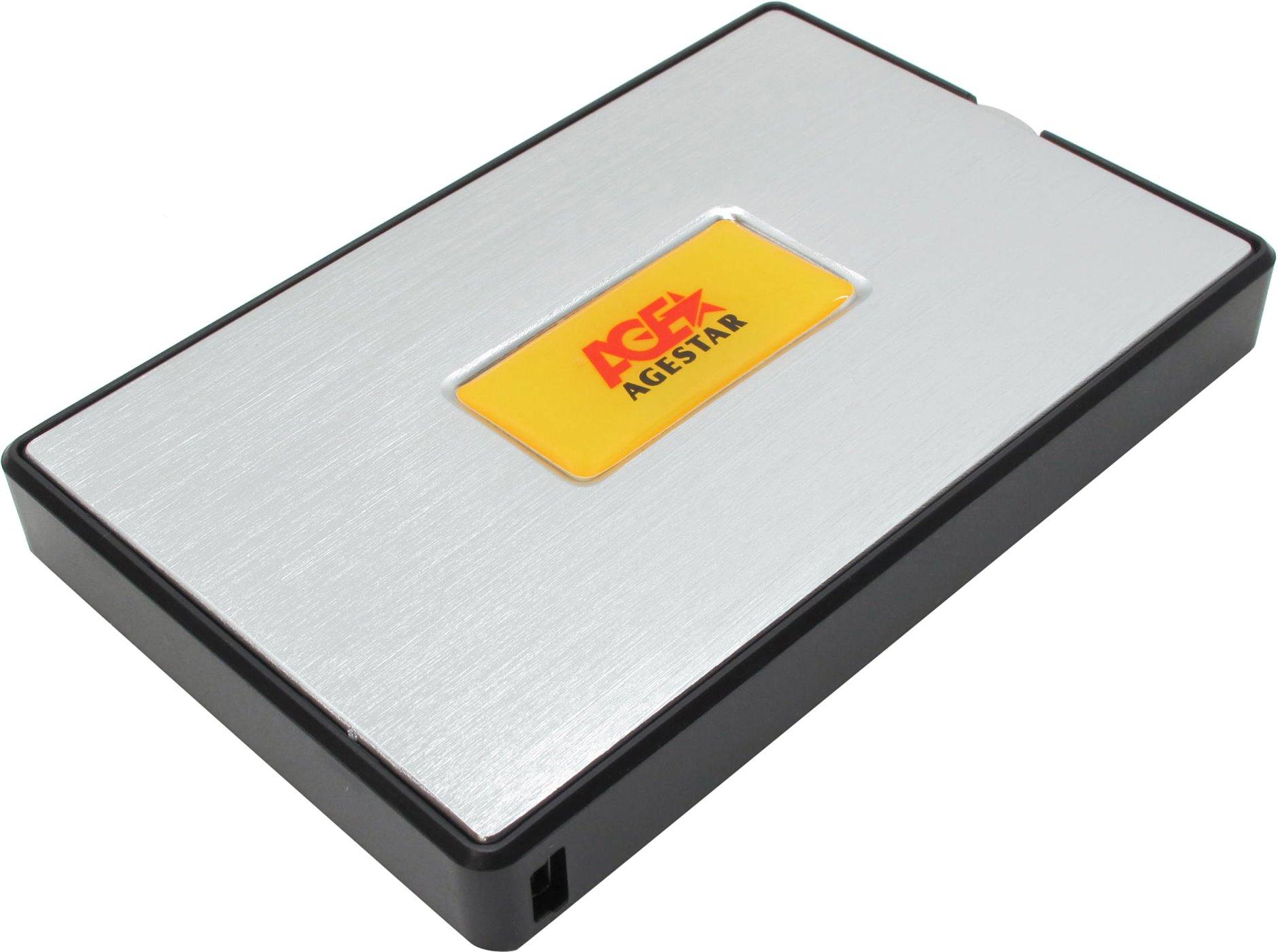 """AgeStar SUB2A11, Black Silver - mini USB 2.0 (тип B) • Мест для накопителей - 1 (SATA I-III, 2.5"""")"""