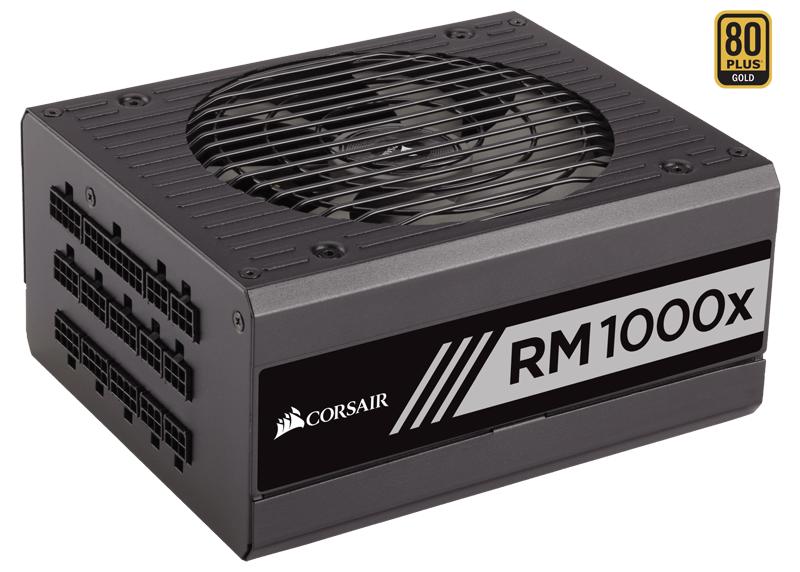 Corsair RM1000x - 1000 Вт, ATX12V v2.4 / SSI EPS 12V v2.92, активная (отключается при загрузке менее 40%), PFC активный, линия +12В(1)