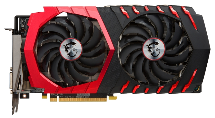 MSI Radeon RX 480 4096Mb - (AMD Radeon RX 480, 14 нм, 1316 МГц, 4096 Мб GDDR5@7100 МГц 256 бит, TDP 150 Вт • Разъёмы: DVI-D, поддержка HDCP, HDMI x2, DisplayPort x2.)