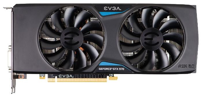 ���������� EVGA GeForce GTX 970 1190Mhz PCI-E 3.0 4096Mb 7010Mhz 256 bit DVI HDMI HDCP 04G-P4-3975-KR