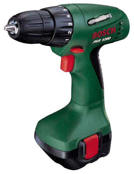 Bosch PSR 1200 1.2Ah x2 Case, 2 аккумулятора [0603944551] - (безударный; патрон быстрозажимной, D= 1 - 10 мм; скоростей 1; 700 об/мин; питание от аккумулятора • Диам.сверления - дерево 20 мм - металл 10 мм)
