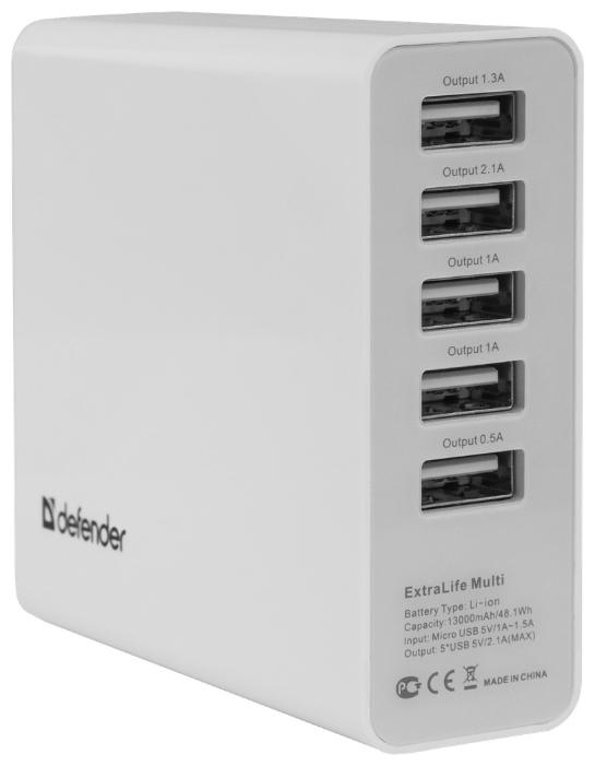 Defender ExtraLife Multi - (13000 мАч; 2.1 А; Вход - micro USB • Индикатор заряда - есть.)