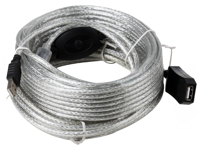 Кабель-удлинитель AOpen ACU823-20M, USB2.0 тип A, 20м, с промежуточным усилителем сигнала