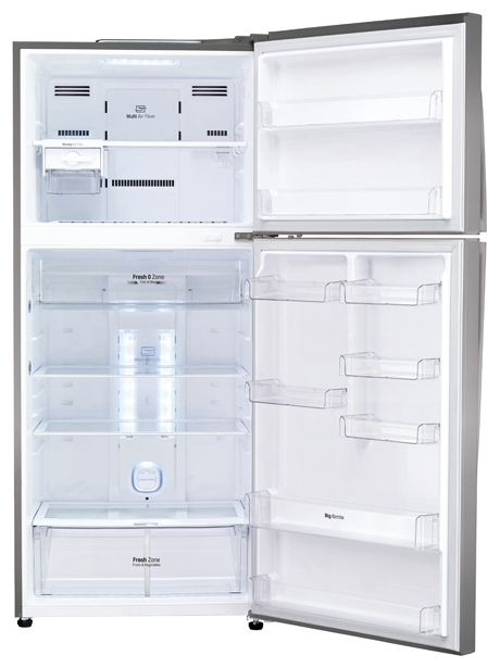 LG GC-M432 HMHL - (холодильник, 410 л (клим.класс T), компрессоров 1, камер 2, дверей 2. Хол-ник 295 л (разм. No Frost). Мор-ник 115 л (разм. No Frost). ШГВ 70x73x168 см. Дисплей есть. Управление электронное. Энергопотр-е класс A+ (308 кВтч/год). серебристый / пластик/металл)