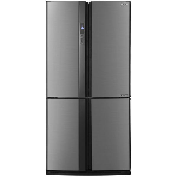 Sharp SJ-EX98FSL - (Многодверный холодильник, 605 л (клим.класс T), компрессоров 1, камер 3, дверей 4. Хол-ник 394 л (разм. No Frost). Мор-ник 211 л, внизу (разм. No Frost). Дисплей цифровой. Управление электронно-механическое. Энергопотр-е 370 кВтч. Энергопотр-е A++ нержавеющая сталь)
