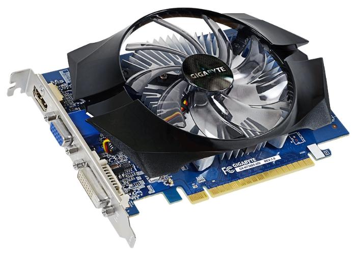 Gigabyte GeForce GT730 (PCI-e 2.0, 2Gb GDDR5, D-Sub + DVI-D + HDMI) - (NVIDIA GeForce GT 730, 28 нм, 902 МГц, 2048 Мб GDDR5@5000 МГц 64 бит • Разъёмы: DVI, поддержка HDCP, HDMI, VGA.)