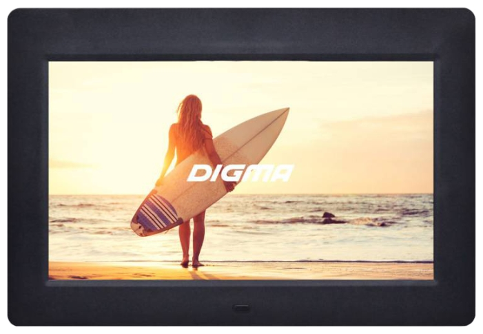 Digma PF-1033 black - диагональ 10.1'', 1024x600, формат 16:9; видеоплеер - есть; USB; динамиков есть; таймер, часы, будильник, календарь,
