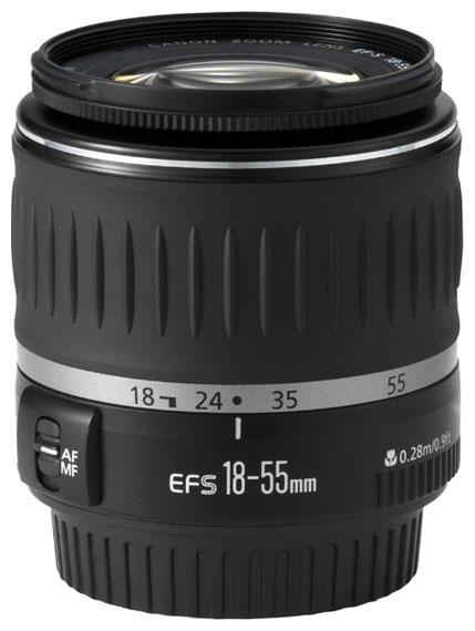 Canon EF-S 18-55mm f/3.5-5.6 - стандартный Zoom; ФР 18 - 55 мм; ZOOM 3.1x; F3.50 - F5.60 • Автофокус есть. Макрорежим есть. • Неполнокадровы