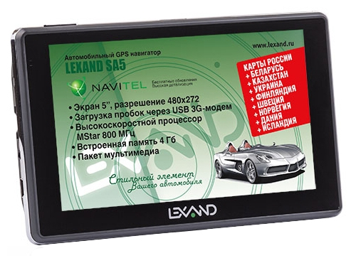 LEXAND SA5 - (экран 5 дюйм., LCD-цветной, 480x272 пикс., сенсорный - есть; загрузка карт - есть; ПО - Навител • USB, Micro SD)