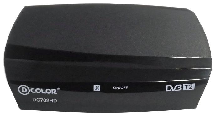 D-Color DC702HD black - Исполнение внешнее; автономный; DVB-T, DVB-T2; HD - 720p, 1080i, 1080p; видеозахват - нет; пульт ДУ - есть