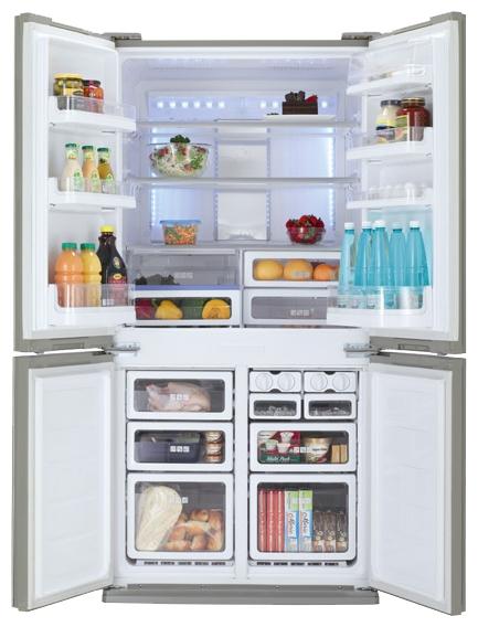 многодверный Sharp SJ-FP97VST - (холодильник с морозильником, 605 л (клим.класс ST), отдельно стоящий, компрессоров 1, камер 3, дверей 4. Хол-ник 394 л (разм. No Frost). Мор-ник 211 л, внизу (разм. No Frost). ШГВ 89.2x77.1x183 см. Дисплей есть. Управление электронное. Энергопотр-е класс A (560 кВтч/год). серебристый / металл)