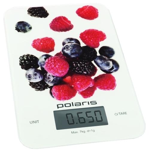 Весы кухонные Polaris PKS 0740DG Berries, white wich print