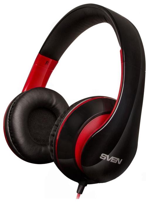 Sven AP-940MV black/red - (Наушники: 18 - 20000 Гц; 32 Ом; накладные; 40 мм. • Микрофон: есть; 30 - 16000 Гц. • Подключение: 1.2 м + 1 м; 2 x mini jack 3.5 mm.)