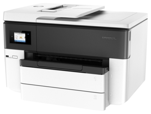 HP OfficeJet Pro 7740 - ((принтер/сканер/копир/факс); A3; цветная; печать 34 стр/мин (ч/б А4), 34 стр/мин (цветн. А4); двухсторонняя печать есть • Печать на: карточках, пленках, этикетках, фотобумаге, глянцевой бумаге, конвертах, матовой бумаге)