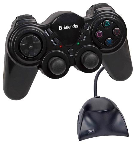 Defender Game Racer Wireless PRO Black - беспроводной геймпад для ПК, PS2; кнопок 12; джойстиков 2; крестовина (D-pad) есть • виброотдача