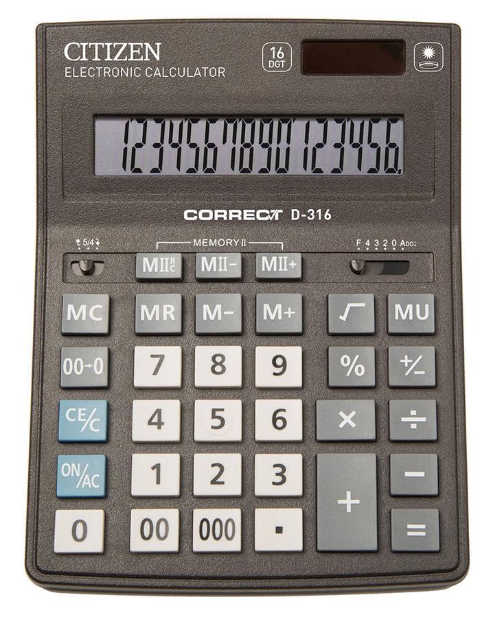Калькулятор Citizen Correct D-316 чёрный