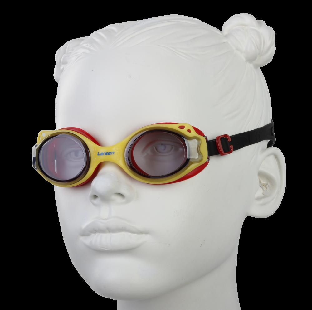 Очки плавательные Larsen DS27 желтый/красный (ТРЕ)