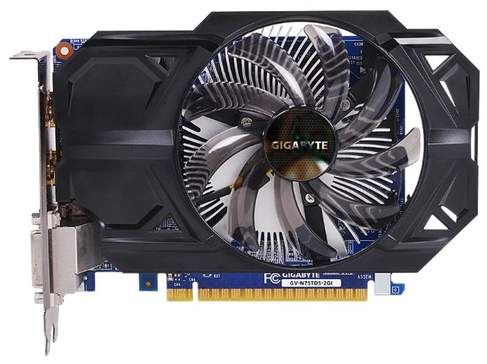 Gigabyte GV-N75TD5-2GI (GTX750 Ti, 2Gb GDDR5, DVI-I + DVI-D + 2xHDMI) - NVIDIA GeForce GTX 750 Ti, 28 нм, 1020 МГц, 2048 Мб GDDR5@5400