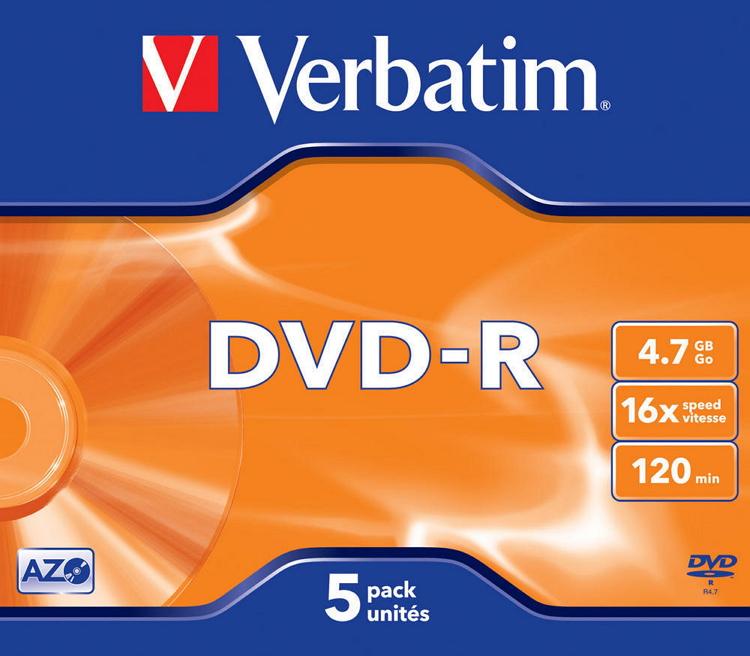 Verbatim DVD-R 4.7 Gb (5шт) - DVD - R; 4.7 Gb; 5 шт 43519
