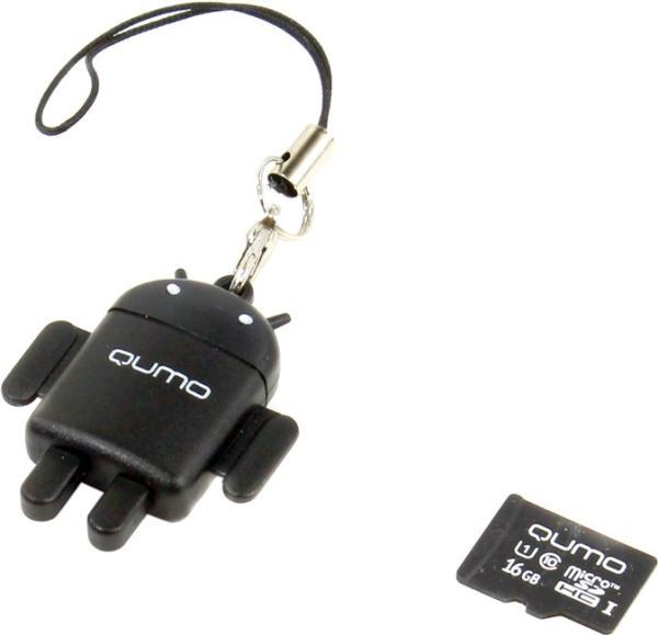 Карта памяти Qumo microSDHC class 10 16GB + Fundroid USB Card Reader, Black